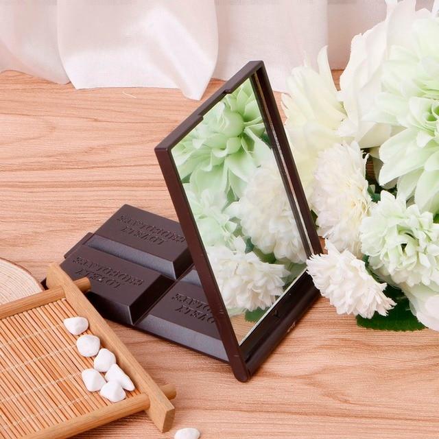 1 PC lindo espejo de bolsillo cuadrado Mini plegable Chocolate galleta en forma de espejo de maquillaje café oscuro/café claro