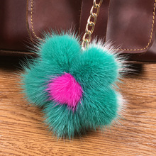 Fashion 10cm Real Fur Mink Keychain Fluffy Six Fur Ball Key Chains Pompom Keychain Pompon Keyring Fur Flower Charm Bag Pendant недорого