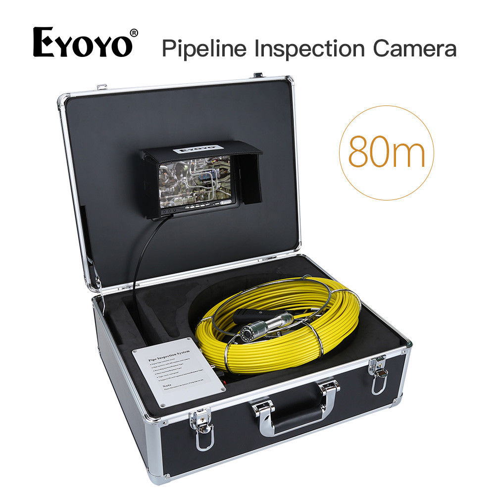 EYOYO WF90 7Color Monitor 80M 12 White LED Lens Drain Pipe Pipeline Snake Cam 1000TVL IP67 110degree Inspection Sewer Camera dhl free wp90 50m industrial pipeline endoscope 6 5 17 23mm snake video camera 9 lcd sewer drain pipe inspection camera system