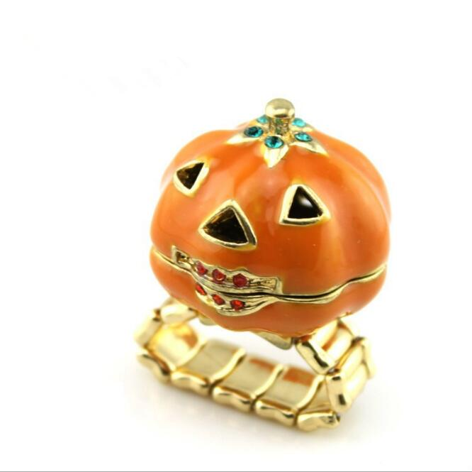 1pcs/set Cool Halloween Pumpkin Ring Halloween Cosplay Openable Box Rings Women Party Fashion Jewelry Finger Ring Kids Girls image