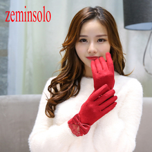 New Fashion Elegant Women Touch Screen Gloves Winter Warm Soft Wrist Gloves Mittens Solid Leather Lace Wool Bow Gloves Long gloves knitted women touch screen 2019 new winter soft rabbit wool knitted gloves warm lovely girls pink heart mittens gloves
