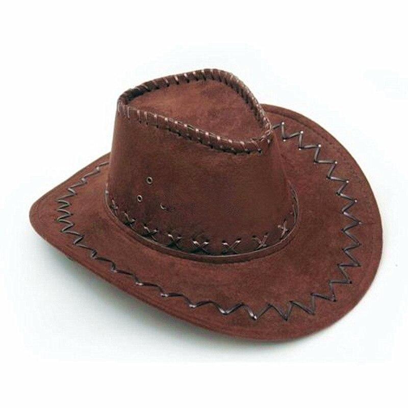 1 Pezzo Di Moda Cappello Da Cowboy In Pelle Scamosciata Sguardo Wild West Fancy Dress Signore Del Mens Unisex Cappelli Caffè Più Nuovo