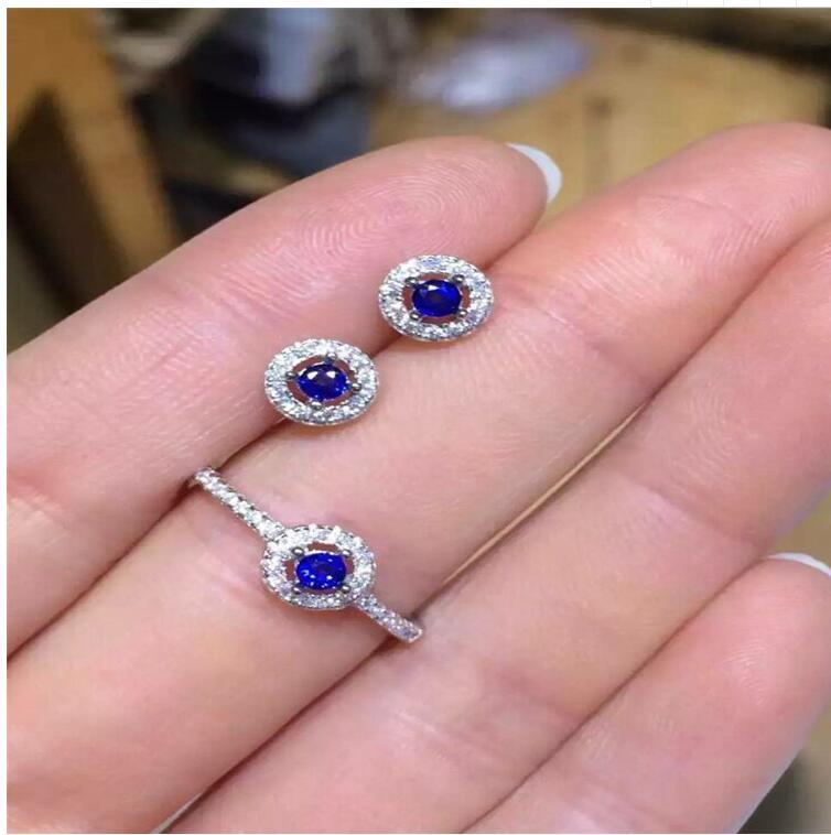 Frete Grátis conjunto de jóias de safira Naturais 2 pcs Brinco, 1 pc anel Natural sapphire 925 sterling silver - 2