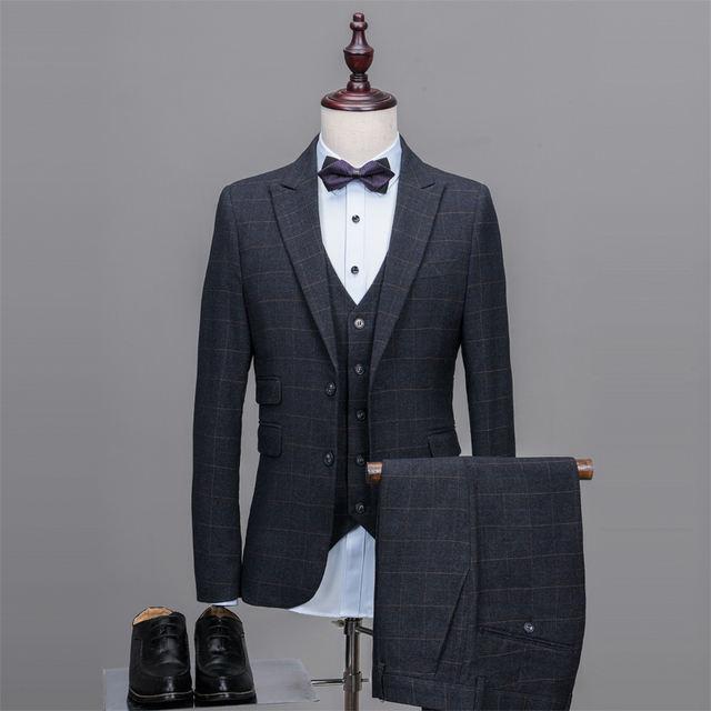 Latest Coat Pant Designs Smoking Grey Tweed Men Suit Pattern Tuxedo