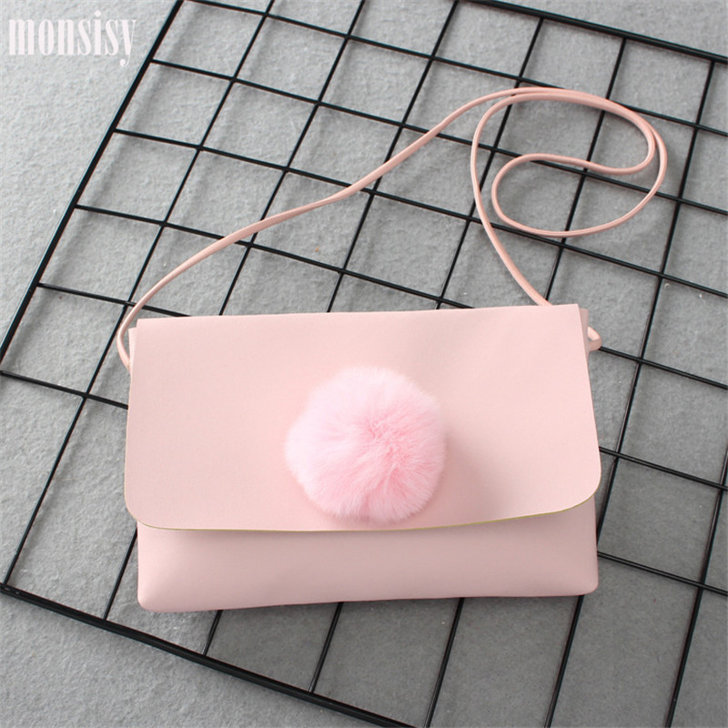 Monsisy  Girl Coin Purse Children's Wallet Small Change Purse Kid Bag Coin Pouch Money Holder Cute Faux Fur Ball Girl Small Bag