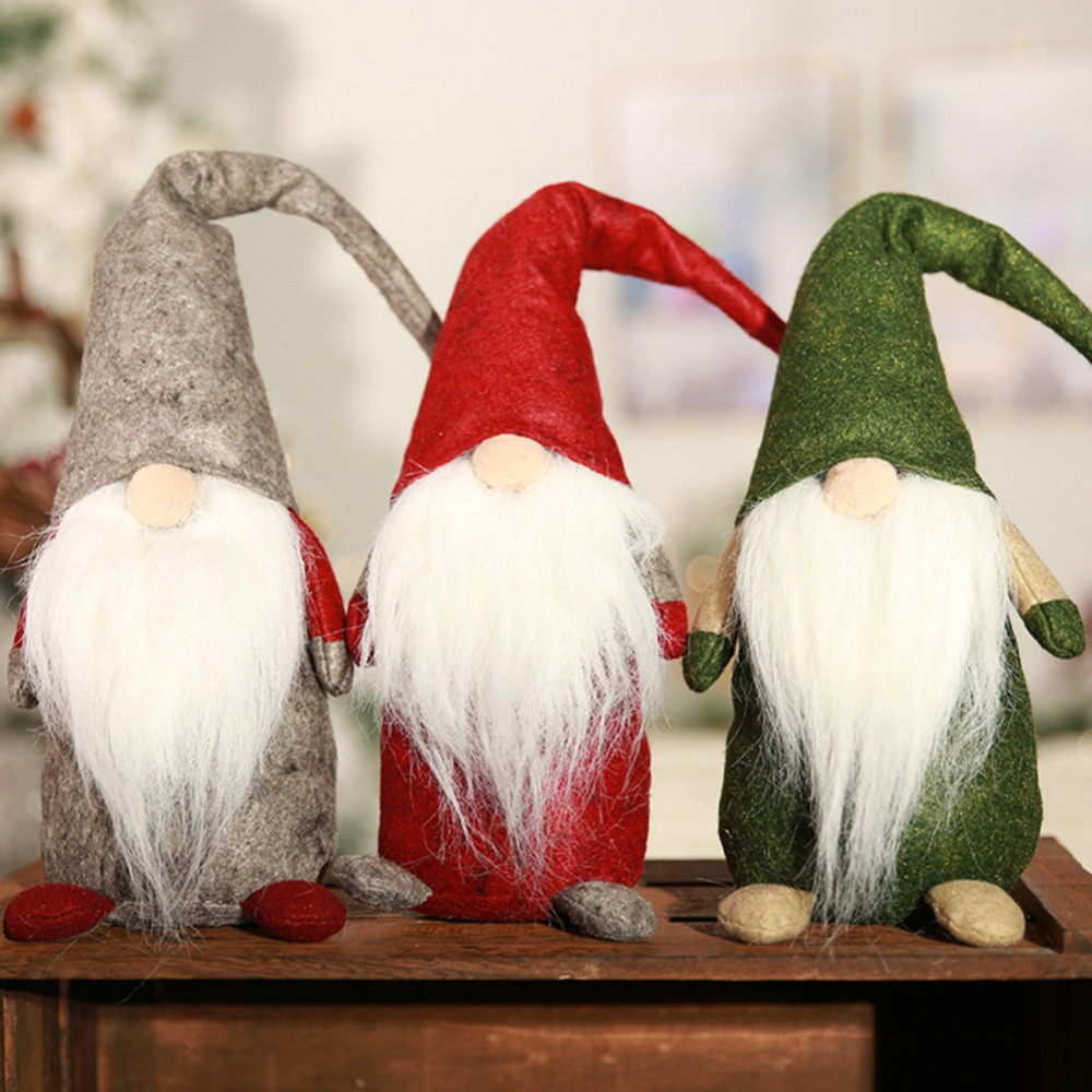 Old Man Christmas Gifts: 27CM Christmas Old Man Faceless Stand Doll Toy Festival