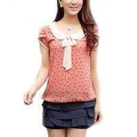 Sexy Fashion Summer Style Casual Sweet Women Doll Collar Short Sleeve Tops Polka Dot Chiffon Shirt