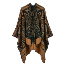 купить Ethnic Style Geometric Print Poncho Cashmere Scarves Women Winter Warm Shawls Wraps Brand Designer Pashmina Thick Capes Femme по цене 979.41 рублей