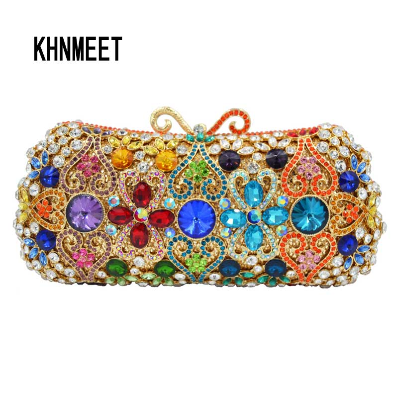 Multicolor Luxury Crystal Evening Bag Female Chain Wedding Bride Purse wallet Business banquet Ladies Clutch Bag SC609 brand designer luxury crystal multicolor clutch bag women diamond evening bag golden oval wedding banquet purse handbags sc467