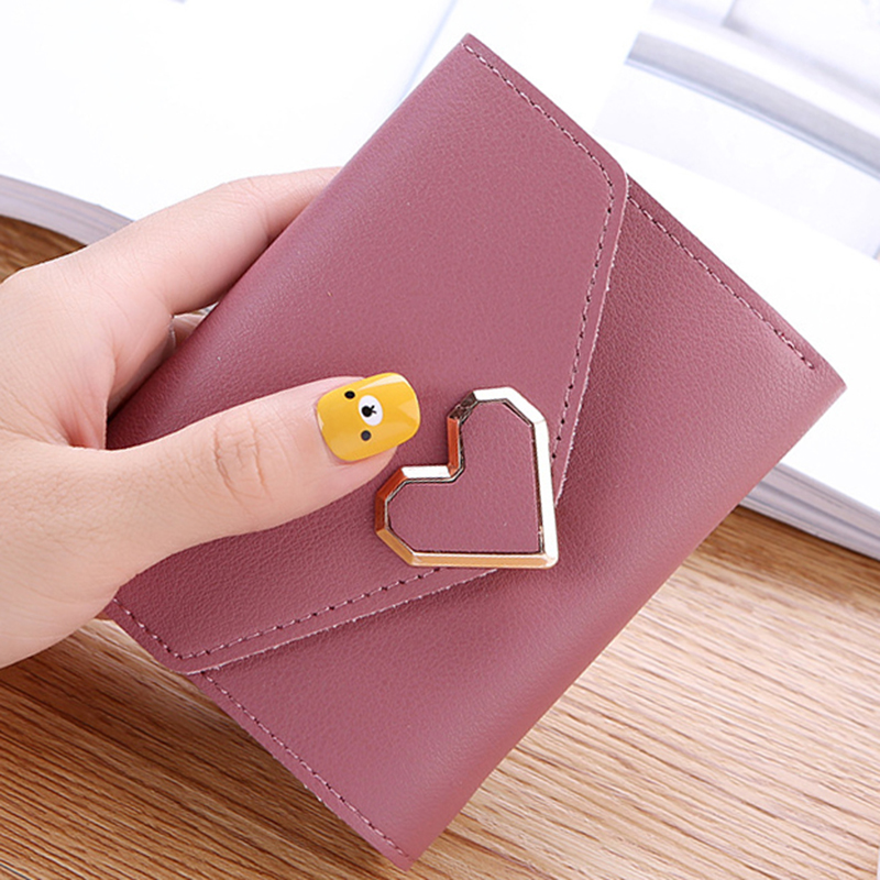 New Fashion Small Wallet Fresh Metal Heart-shaped Short Section Three Fold Short Purse Ladies Student Money Package Card Bags