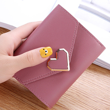 new fashion small wallet fresh metal heart-shaped short section three fold purse ladies student money package card bags