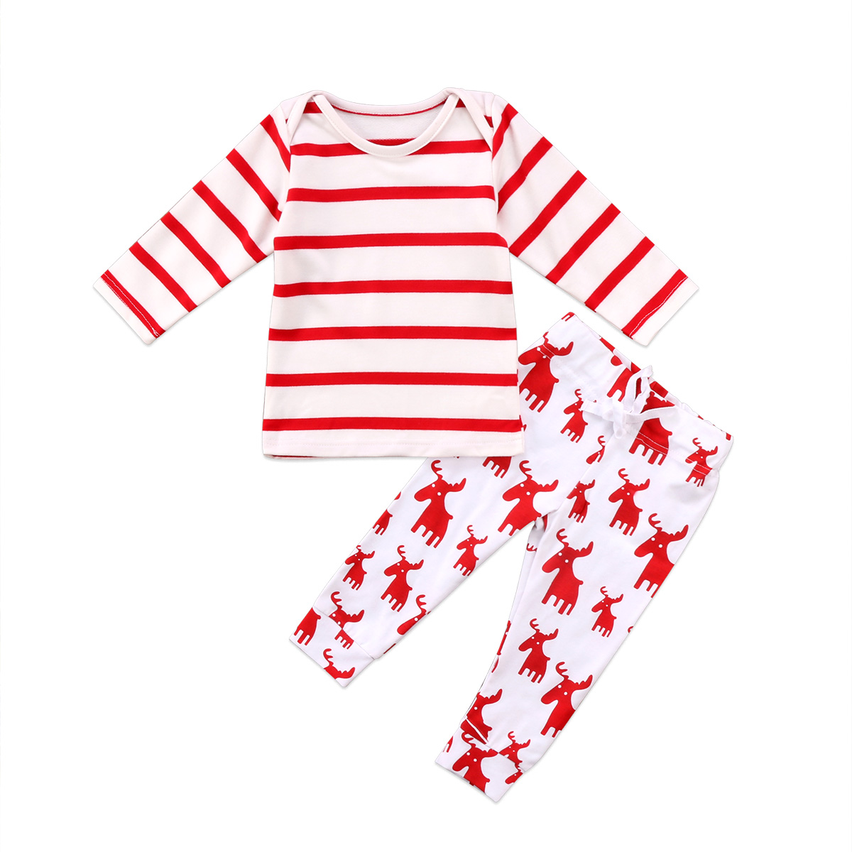 Newborn Baby Boys Girls Christmas Clothes Tops Romper Long Pants 2PCS Outfits