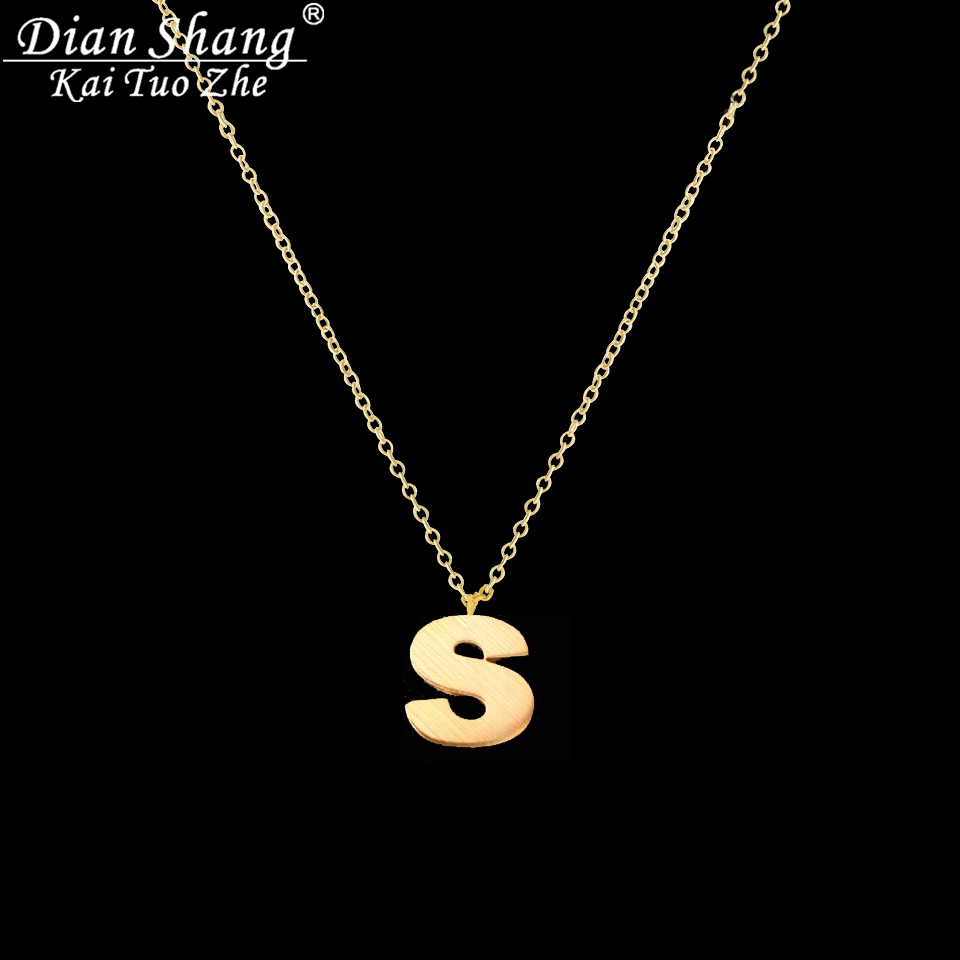 Dianshangkaituozhe charm jewelry 26 initial gold chains for Letter s necklace gold