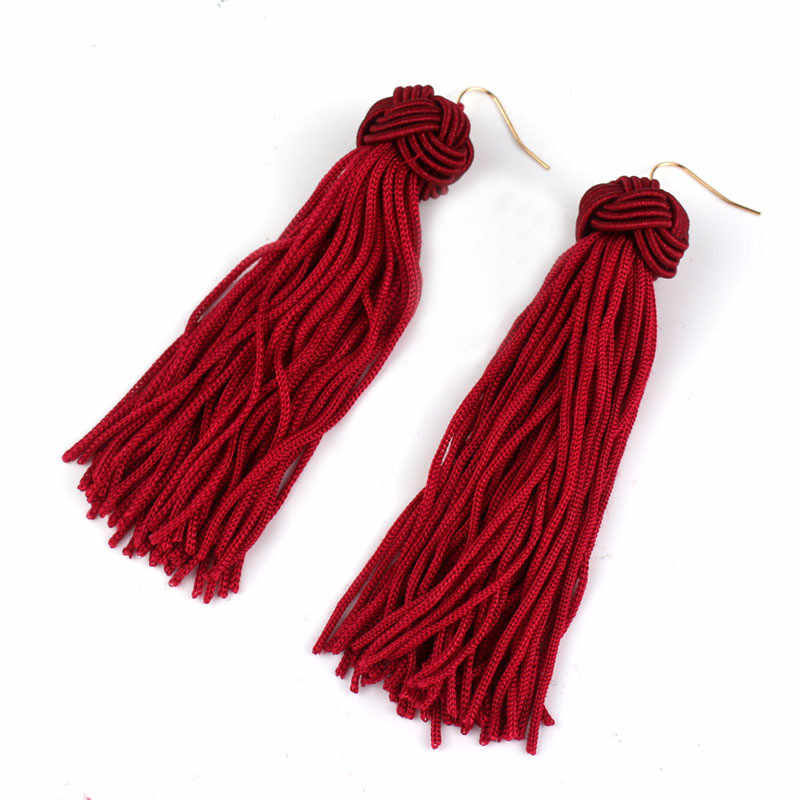 Ahmed Colorful Woven Ball Statement Tassel Long Earring for Women Fashion Fringed 2018 Dangle jewelry Brincos Bijoux Hot