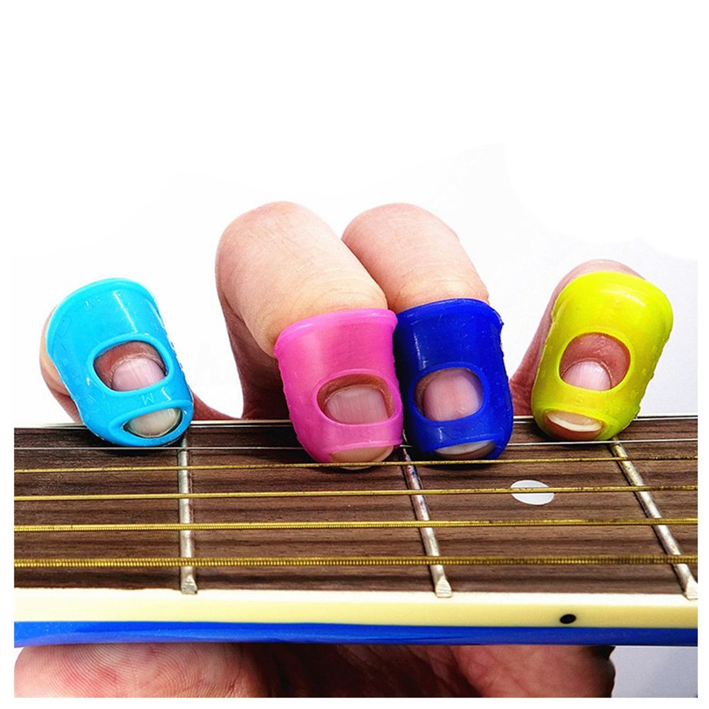 SALES 5x4pcs Silicone Guitar Thumb Finger Picks Protector case Plectrum Fingertip Colors Random