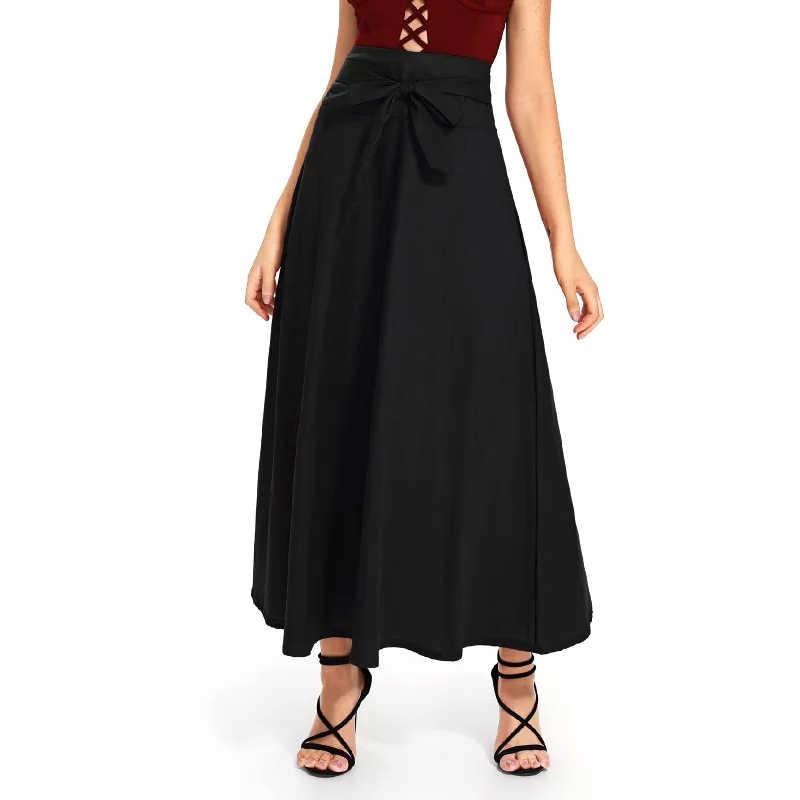 5b6821eee53 ... Sisjuly Женская Весенняя летняя бордовая зеленая черная длина до  щиколотки длинная юбка с бантом на шнуровке ...
