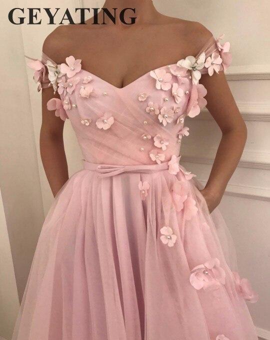 Sweet Girl Pink Flora Prom Dresses 2018 Long Off Shoulder Cap ...