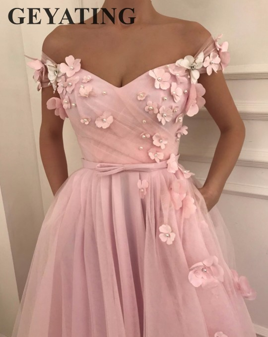 Sweet Girl Pink Flora   Prom     Dresses   2019 Long Off Shoulder Cap Sleeves Elegant Evening Party Gowns 3D Flowers Junior Formal   Dress