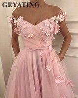 Sweet Girl Pink Flora Prom Dresses 2018 Long Off Shoulder Cap Sleeves Elegant Evening Party Gowns 3D Flowers Junior Formal Dress