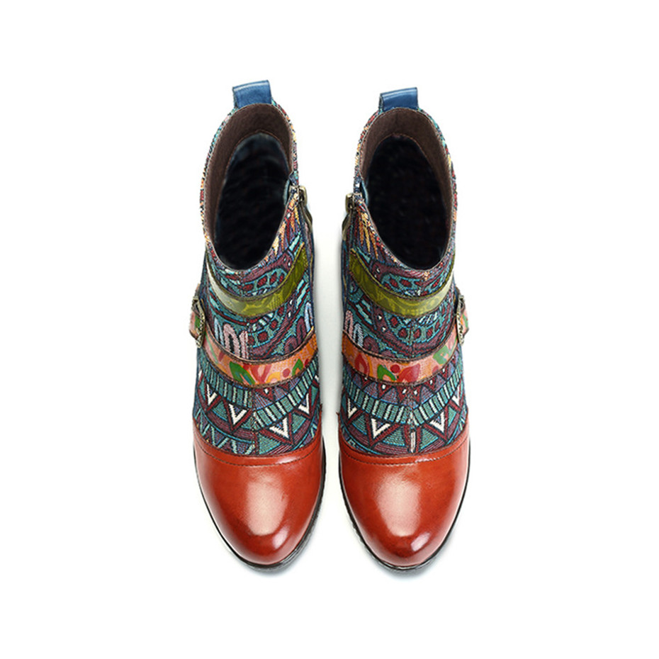 D Knight Brand Plus Size Women Ankle Boots Vintage Patchwork Female Short Boots Fashion Side Zip Print Buckle Lady Shoes Booties in Ankle Boots from Shoes