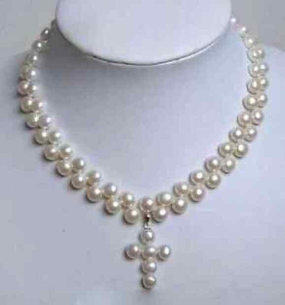 """Schmuck Perle Halskette 7-8mm Charming Weiß Akoya-zuchtperlen Kreuz Anhänger Halskette 18 """"Freies Verschiffen"""