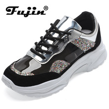 Fujin 2019 Dad Shoes Pop Women Dropshipping Female Colors Coloured Single Flats Thick Bottom Bright Sneakers