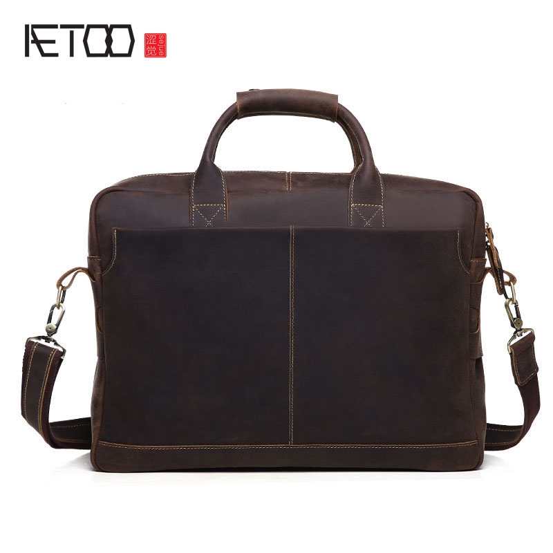 AETOO Europe and the United States the trend of leather men 's business briefcase men' s mad shoulder bag Messenger bag men s leather oblique cross chest packs of the first layer of leather deer pattern men s shoulder bag korean fashion men s bag