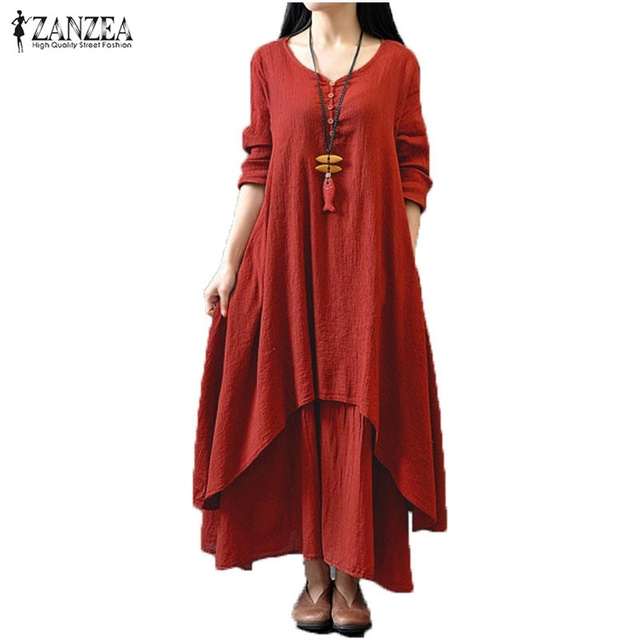 2016 ZANZEA Women Casual Solid Spring Dress Loose Full Sleeve V Neck Button Dress Cotton Linen Boho Long Maxi Dress Vestidos