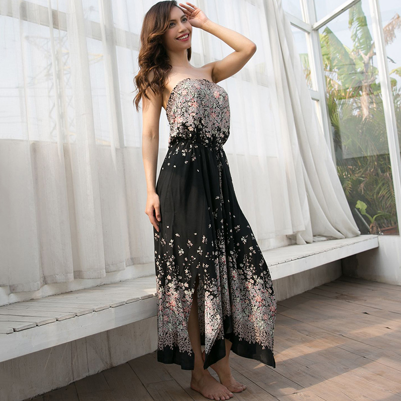 Women's Clothing Hearty Free Shipping Aliexpress Hot Sale Plus Size S-xxxl Bohemian Style Deep V Collar Flower Printed Woman Chiffon Long Dress Easy And Simple To Handle