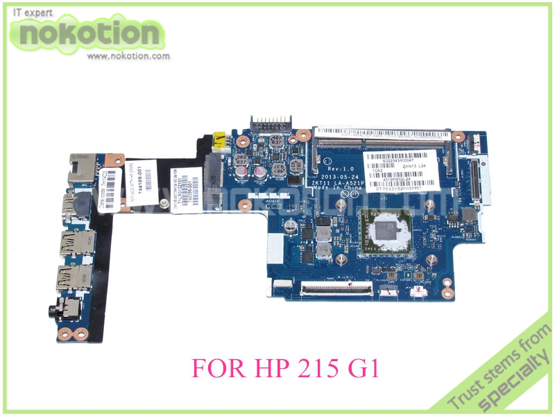 NOKOTION laptop Motherboard For HP 215 G1 ddr3 ZKT11 LA-A521P REV 1.0 744189-001 745396-001 warranty 60 days top quality for hp laptop mainboard envy13 538317 001 laptop motherboard 100% tested 60 days warranty