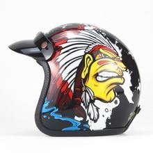 HOT sale Open Face Half PU Leather Helmet Moto Motorcycle Helmets vintage Motorbike Headgear Casque Casco helmet
