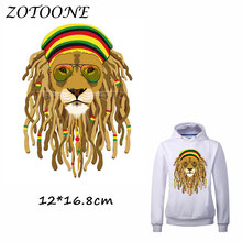 ZOTOONE Glasses Africa Lion Patch for Clothing Iron-On Garment Heat Transfer Badges Diy Accessory T Shirt Deco Applique Patches
