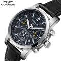 Мужские часы GUANQIN 2018  модные деловые мужские часы  лучший бренд  хронограф  кварцевые часы  мужские светящиеся водонепроницаемые часы с кале...