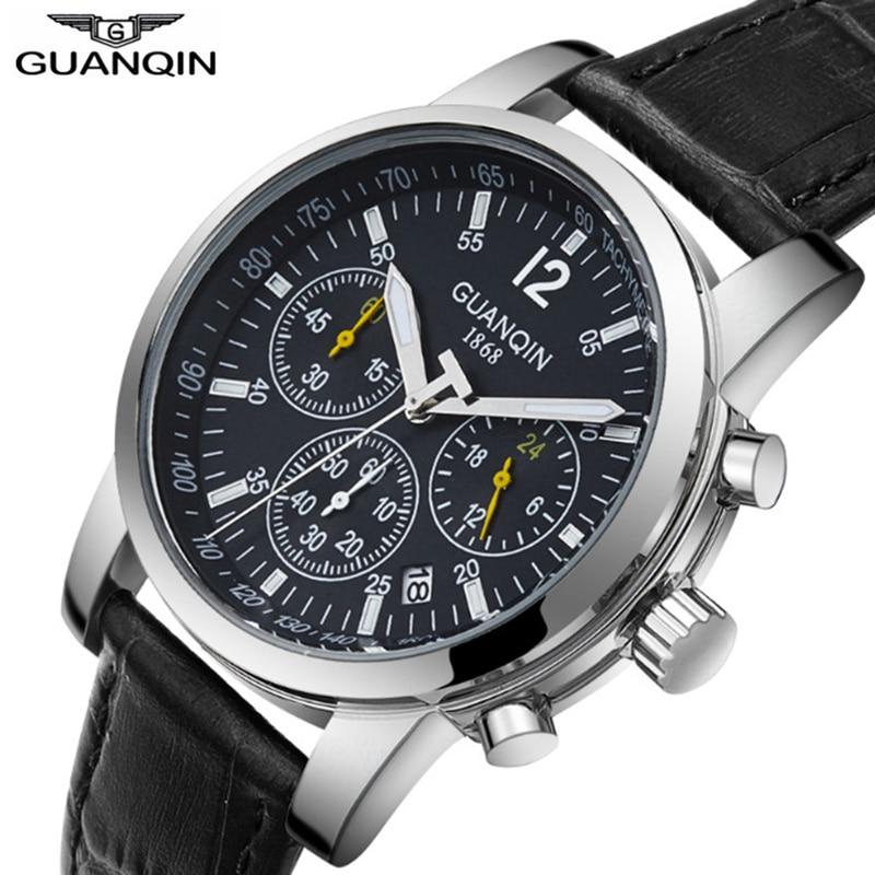 Relogio Masculino GUANQIN 2018 Fashion Business Mens Watches Top Brand Chronograph Quartz Watch Men Calendar Luminous Waterproof