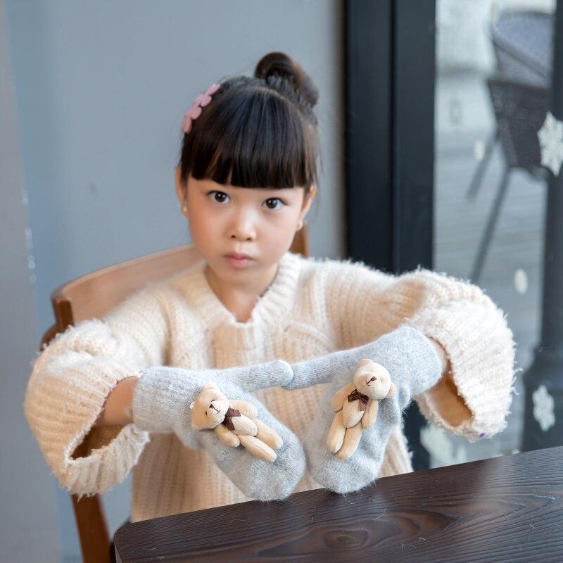 Lovely 4-12 Years Old Children Winter Warm Cartoon Bear Wool Knit Mittens Girls Thicken Velvet Knit Kids Gift Soft Gloves A24
