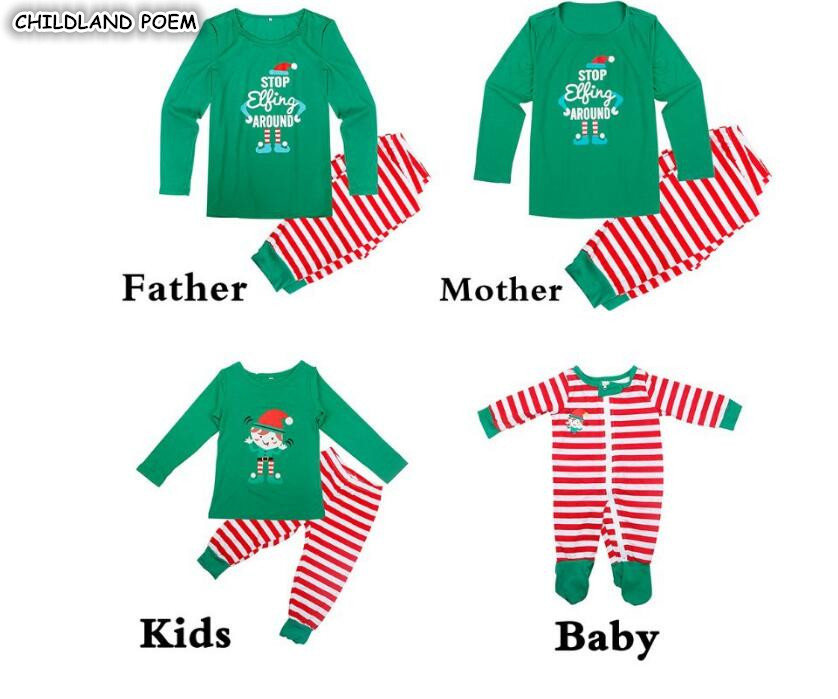 Family Christmas Pajamas Set Family Matching Sleepwear Xmas Pjs Stripe Mother Daughter Father Son Outfits Family Look Nightwear