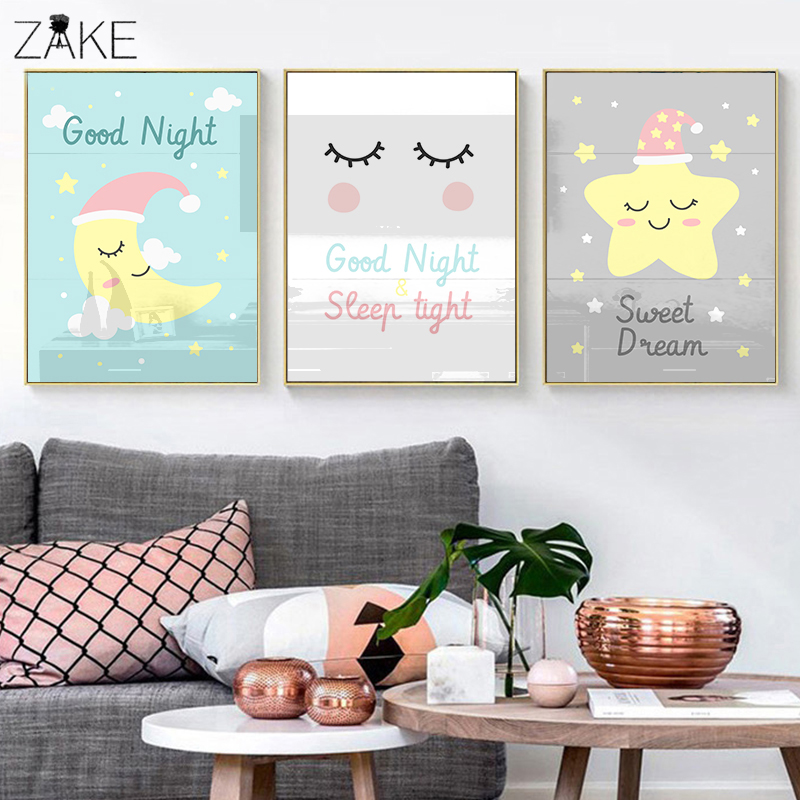 Cartoon Moon Star Canvas Art Cute Posters Nursery Prints Painting Wall Picture Baby Girls Room Decoration