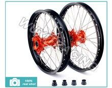 1 set Complete Black Wheel Rim Orange Hubs Front 1.6 X 21″ Rear 2.15 X 18″ For KTM 125-530 ALL Models Alloy