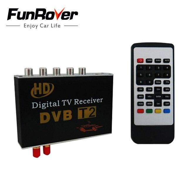 FUNROVER nuevo 12 v negro receptor de televisión Digital de coche Dvb-t2 Dvbt2 para Dvd sintonizador Mpeg4 para Rusia Tailandia Europa dvd