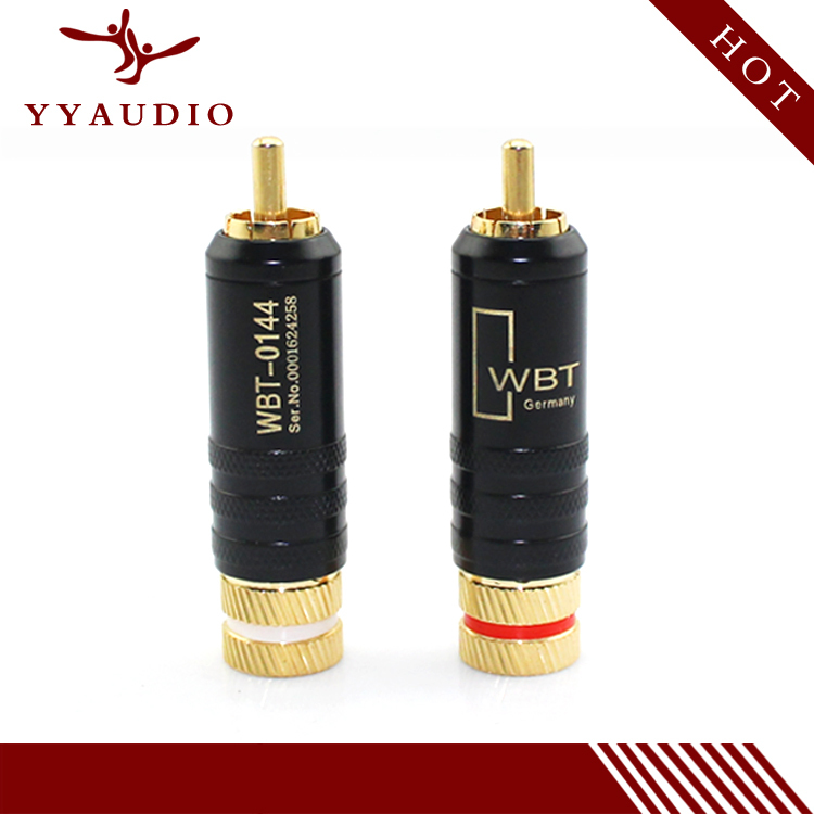 4pcs/Lot New Gold Plated Copper RCA Plug Mayitr Durable RCA Connector Screws Soldering Locking Audio Video WBT Plug 53mm*13mm