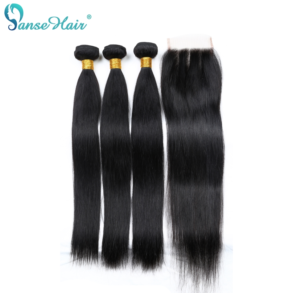 Brazilian Hair Panse Hair Bundles 3 Bundles With One Lace Closure 4X4 Straight Human Hair Weaving Non Remy
