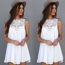Fashion Women Lace Sleeveless Casual Summer font b Dress b font Ladies Loose Beach font b