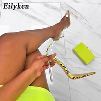 8fcc3e902 Eilyken 2019 New Sexy Green Serpentine PVC Transparent Crystal Female Sexy  Pumps High Heels 12CM Party