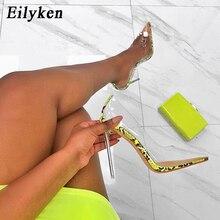 Eilyken 2021 nova sexy verde serpentina pvc transparente cristal feminino sexy bombas de salto alto 12cm vestido de festa mulher bombas sapatos