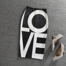 POEBE HZ 2018 autumn New Letter Printed Body Skirt High Waist Black Step Skirt Stretch high waist printed africa skirt