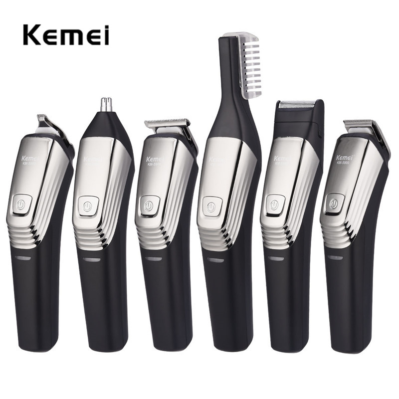 Kemei 6 in 1 Hair Trimmer Titanium Hair Clipper Electric Shaver Beard Trimmer Men Shaving Machine Haircut Noste Trimmer Eyebrow kemei 7 in 1 multifuntion hair trimmer clipper set electric shaver nose ear eyebrow beard trimmer hair removal shaving machine