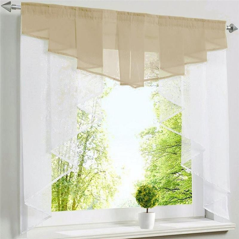 Multicolor Curtains Tulle for The Kitchen Window Coffee Pelmet Roman Curtain Door Bedroom Living Room Sheer Valance Treatments