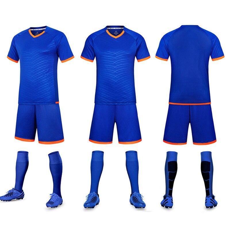 344f66464 Men Striped Soccer Jerseys 2018 2019 Pro Soccer Uniform Survetement Short  Sleeved Football Set Maillot De Foot Customize