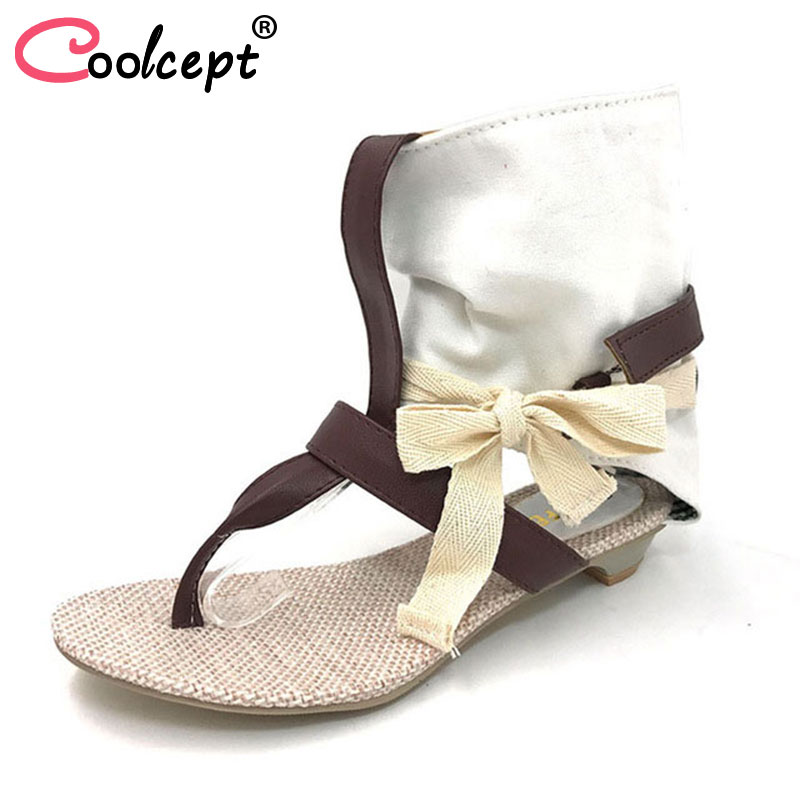 Coolcept Women Summer Hot Flat Sandals High Ladies Slippers Heel Shoes Sexy Female Shoes Women's Fashion Sandals Size 34-43 coolcept women high heel sandals platform fashion lady dress sexy slippers heels shoes footwear p3795 eur size 34 43