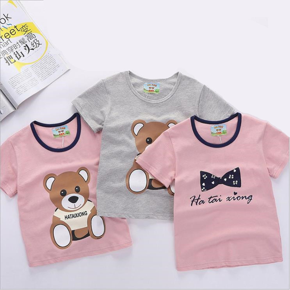 2019 Summer Boys Girls Children Girl Kids T Shirt Boy Clothes Printed Tees For Boys Girls Top Cartoon Bear Printed Baby Clothing